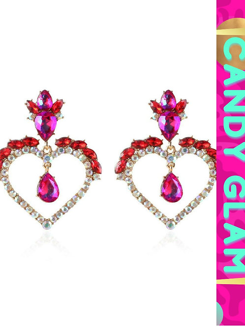 Lea Heart ❤ and Rhinestones Earrings