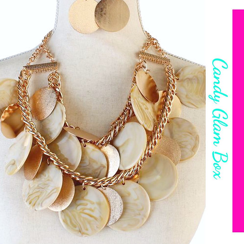 Ivory and Gold Oversized Circles Necklace Set