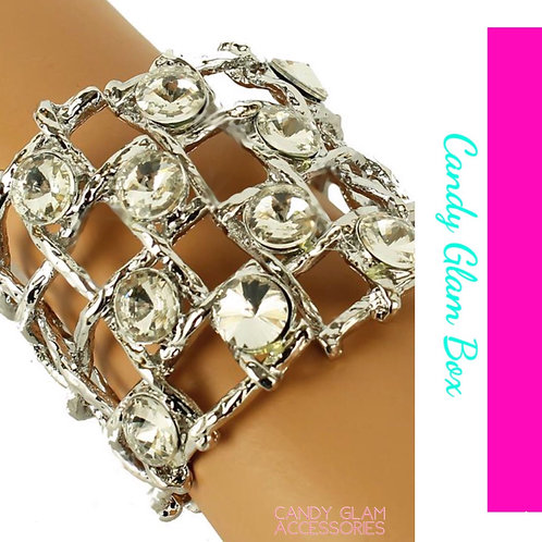 Crystal Metal Bangle Cuff
