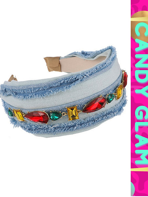 Bejeweled Denim Headband
