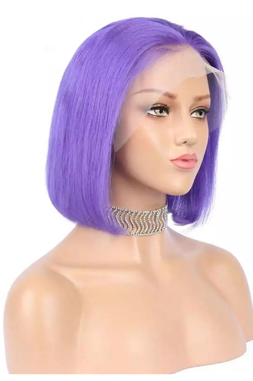 Purple Human Hair Lacefront Bob Wig