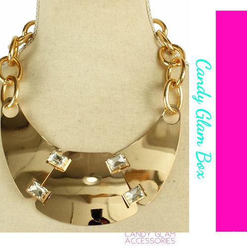 Gold And Rhinestone Bib Necklace Set
