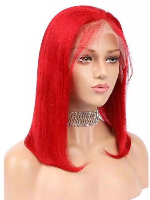 Fire Red Human Hair Lacefront Bob Wig