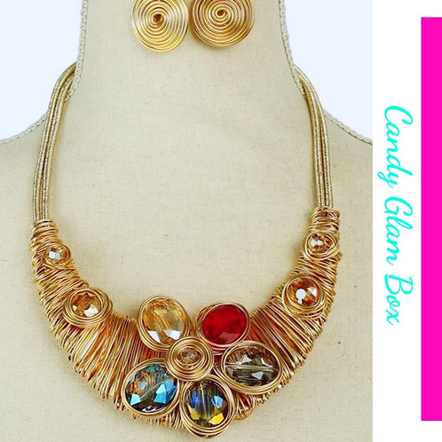 Multi Color Rhinestones and Flowers Necklace Set