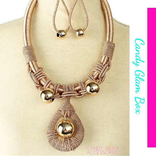 Gold Ball Tear Necklace Set