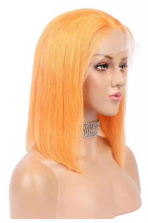 Peach Human Hair Lacefront Bob Wig