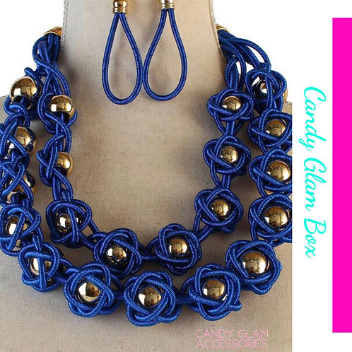 Gold Metal Ball Cord Necklace Set
