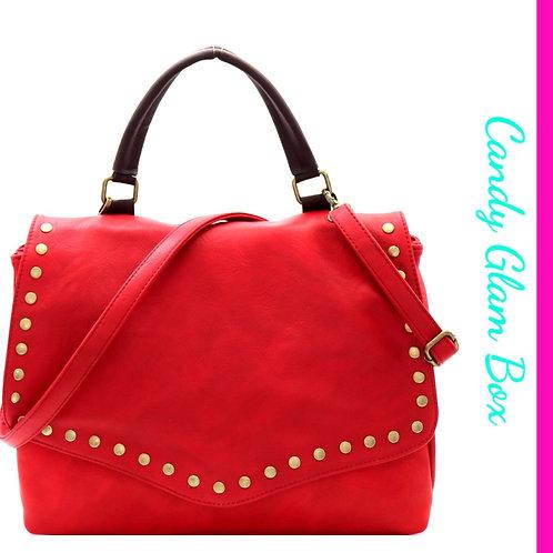 Brass Studded Red Satchel Bag