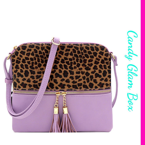 Lilac and Leapord Cross Body Bag
