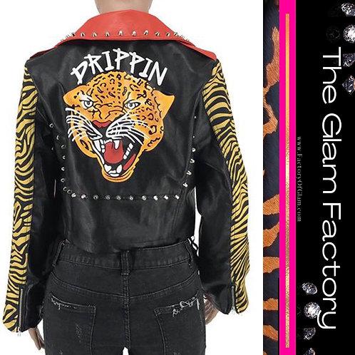 Animal Print Jacket Vegan Leather