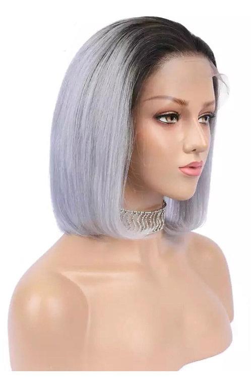 1B/Grey Human Hair Lacefront Bob Wig