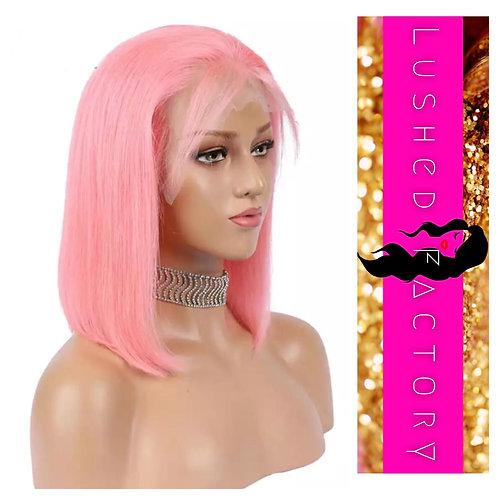 Pink Human Hair Lacefront Bob Wig