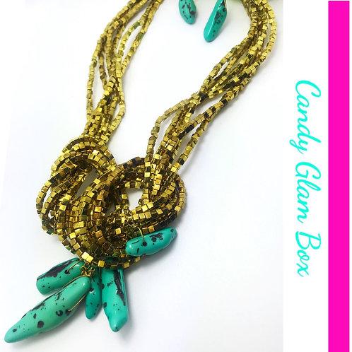 Egyptian Beaded Turquoise Stone Necklace Set