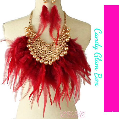 SOLD OUT FEATHER & PEARL NECKLACE SET