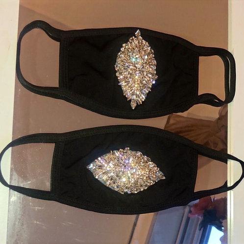 Black x Rosegold Crystal Mask