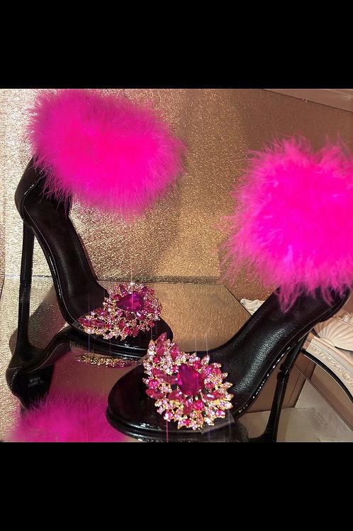 'Queen' - Super Crystal Feather Heels