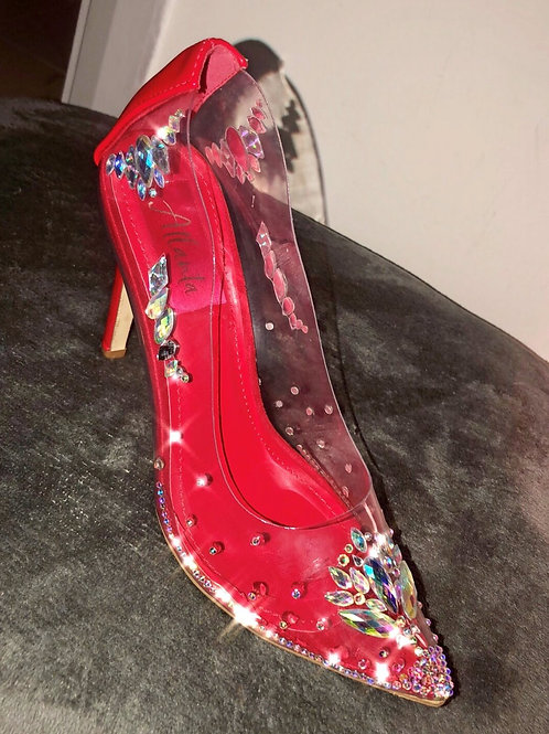 'The Glass Slipper' Perspex Chunky Crystal Heels