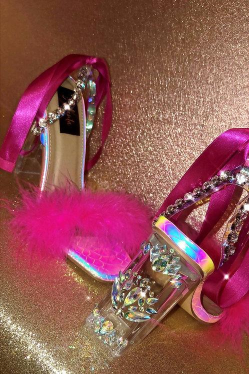 'Mermaid Pink' Multicolour Base x Embellished Block Heel