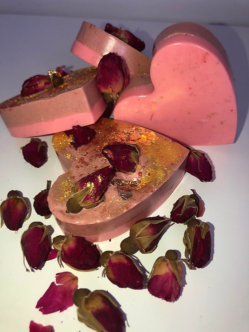 Strawberry & Chocolate Scented Rosegold Heart Soap Bar