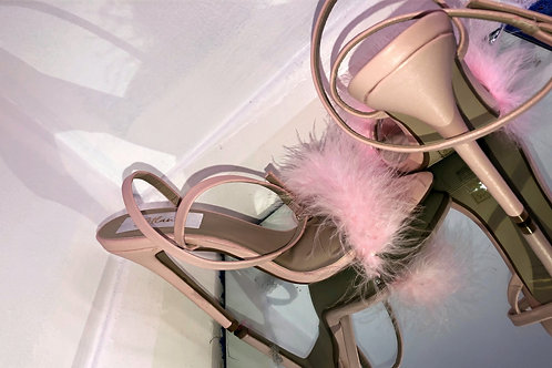 Baby Pink Feather x Pointed Strappy Heel