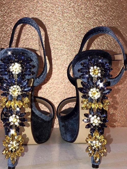 Navy Stiletto x Blue & Yellow Crystal Heel