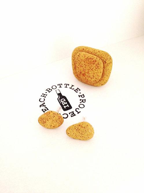 Conjunto Ona pendientes y anillo rocks