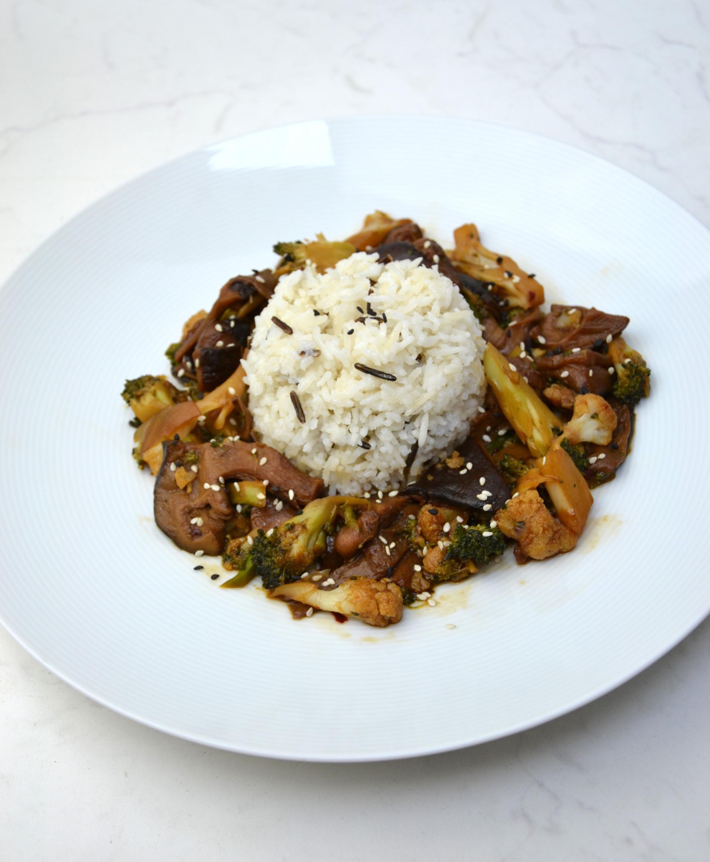Vegan Teriyaki with wild rice
