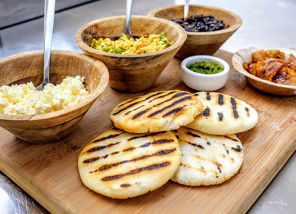 Arepas ready to be filled
