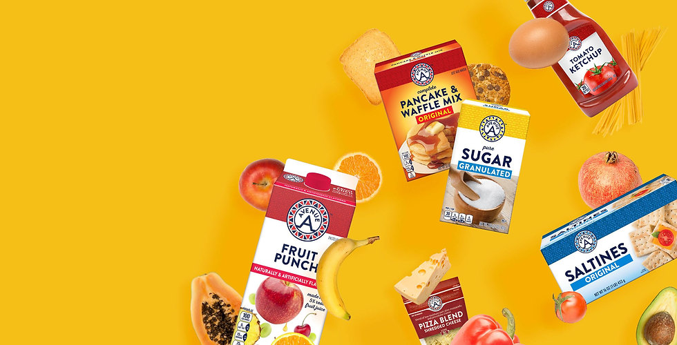 Avenue A Products - Fruit Punch, Pancake & Waffle Mix, Sugar, Ketchup & Saltines