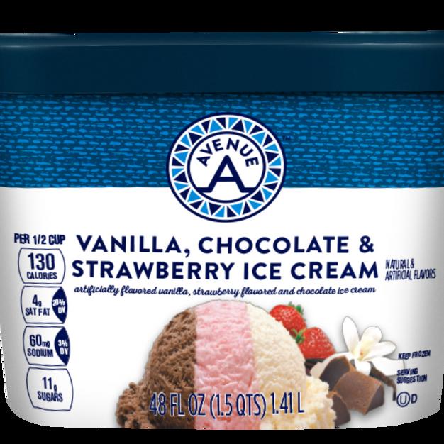 Vanilla, Chocolate & Strawberry Ice Cream