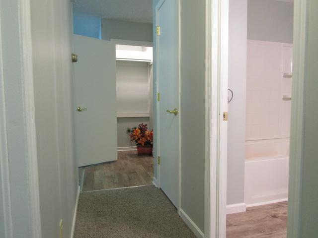 Hall closets; door to bath