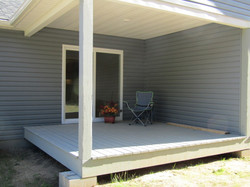 Covered wood deck.
