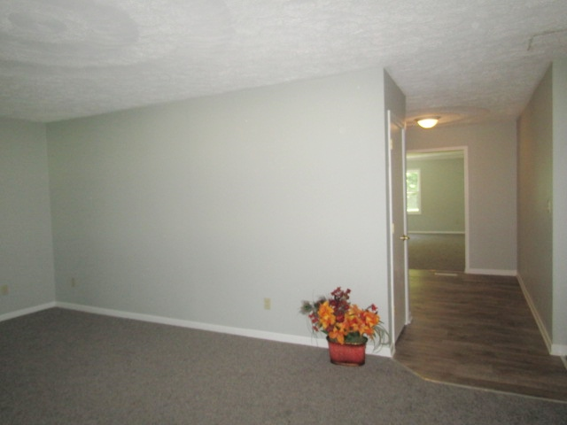 Living room view of dinette and rec room hallway