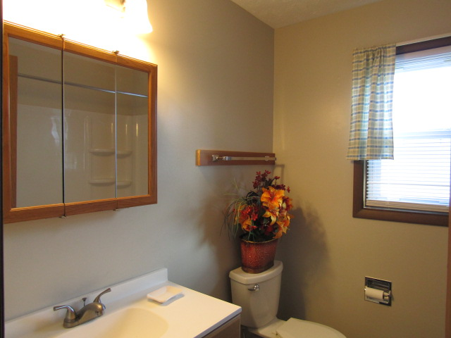 Remodeled bathroom has tub shower, vanity, mirrored medicine cabinet