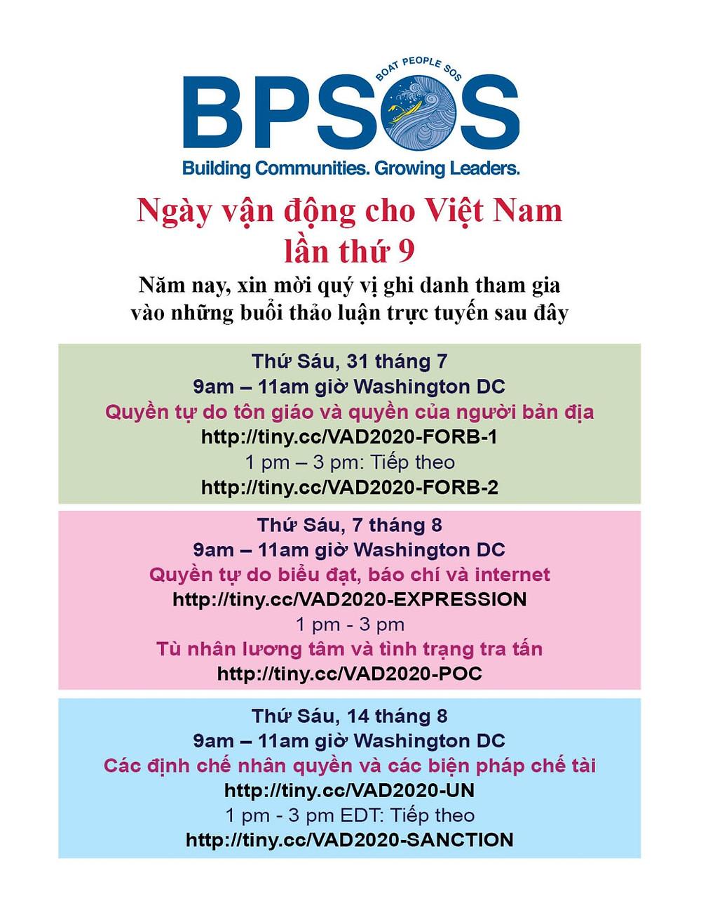 Lịch trình các buổi hội luận Ngày Vận Động cho Việt Nam 2020