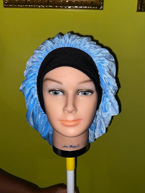 Urban Sky Blue Velvet Bonnet