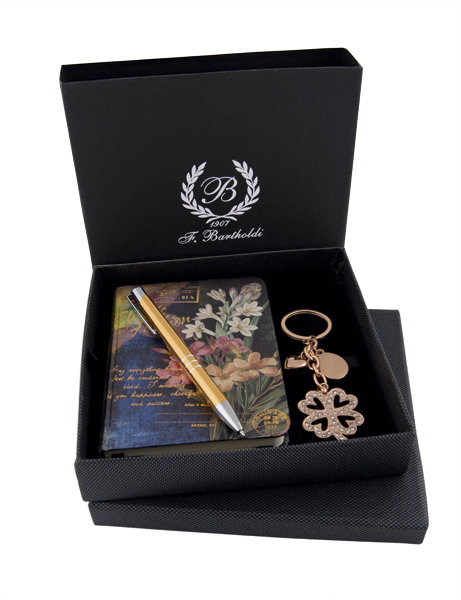 Комплект - луксозен бележник, ключодържател, химикалка  F.Bartholdi