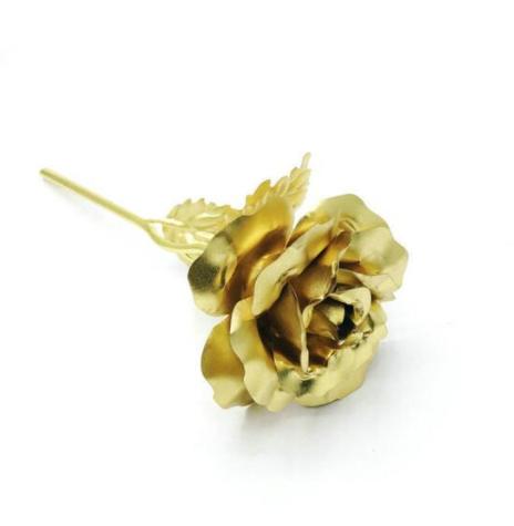 Роза със златно покритие в луксозна торбичка