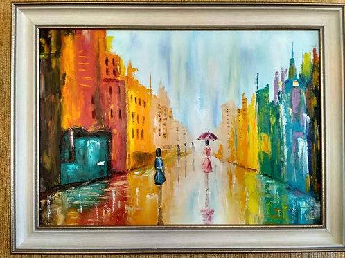 Цветен град (живопис, масло)