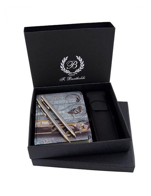 Комплект бележник, химикалка и автоматичен молив с калъф в кутия F.Bartho