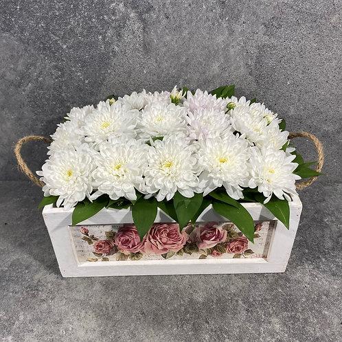Дървена кутия Blossom с цветя