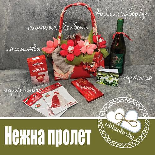 НЕЖНА ПРОЛЕТ - Вино по избор/друго, 2 лакомства, подарък, мартенички, картичка
