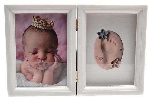 Рамка за снимка на бебе и комплект с глина за отпечатъци