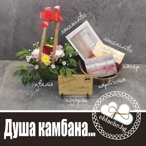 ДУША КАМБАНА - 2 лакомства, подарък и картичка в кош + цветя