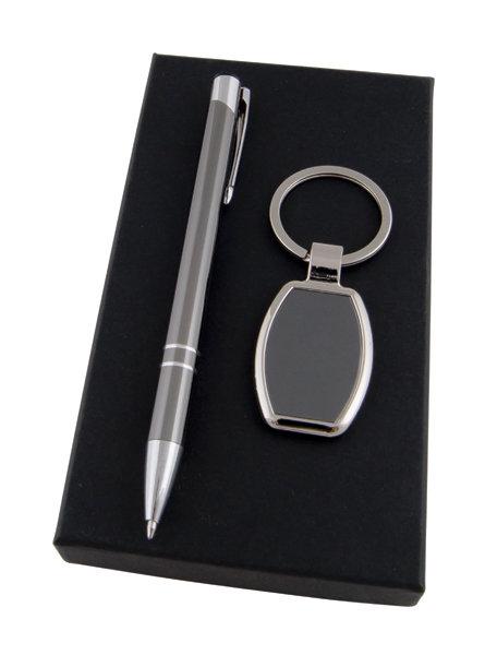 Метална химикалка и ключодържател в кутия