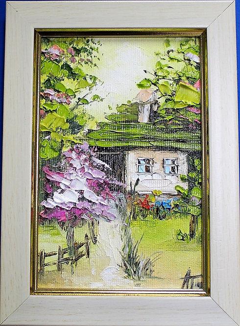 Картина със селски пейзаж (10/15 см платно, живопис, масло)