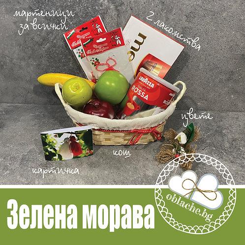 ЗЕЛЕНА МОРАВА - 3 лакомства, мартеници, кош. картичка и цвете