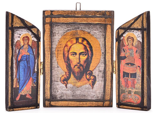 Тройна дървена икона ръчна изработка