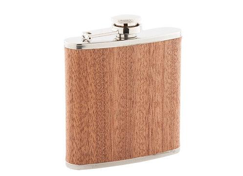 Метална бутилка за алкохол със дървено покритие Alexander