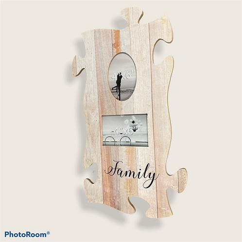 Дървена рамка пъзел с надпис Family и 2 Ваши снимки